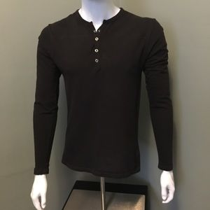 Saks Fifth Avenue Shirts - Saks Fifth Ave red label L/S henley shirt S brown